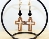 Recycled Eco-Friendly Jerusalem Olive Wood Cutout Cross Earrings Black Beads