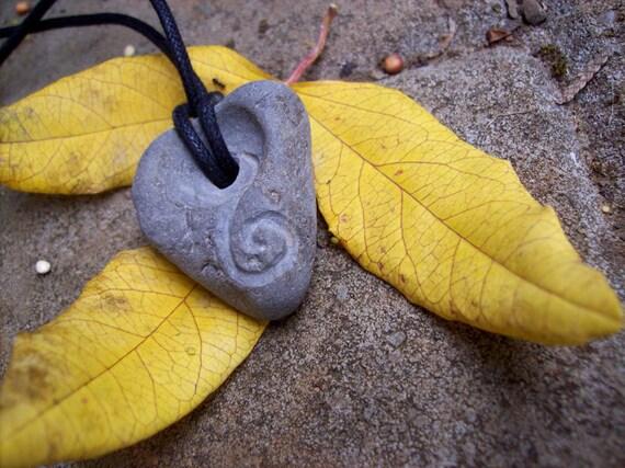 SALE- Primitive Beach Stone Heart Spiral Pendant