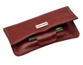 Handmade and personalized, red leather rolling tobacco pouch