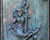 Mermaid on Anchor Plaque with bronze patina look