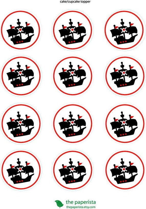 Printable Cupcake Topper /Gift Tags Pirate by LiskyandLulu on Etsy
