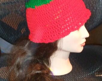 Succulent Strawberry cap with fringe edging