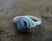 Peacock Pearl Ring in Sterling Silver (Free Shipping)