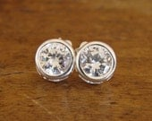 Sterling Silver Studs Post White Topaz Free Shipping