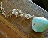 Necklace Long Gold Freshwater Pearls and Aqua Blue Green Stone Free Shipping