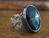 Vintage Black Filigree Ring (Free US Shipping)
