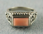 Collectible Vintage Genuine Pink Coral Bezel-Set Rectangle Art Deco Sterling Size 6 Dome Ring