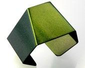 2021 Geometric Large Aluminum Cuff Bracelet Green Gold  Car Paint Ooak