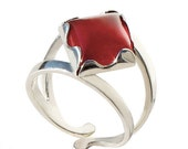 Clearance SALE 60% off Wine Queen Carnelian Ring Adjustable band Sterling Silver unique jewelry