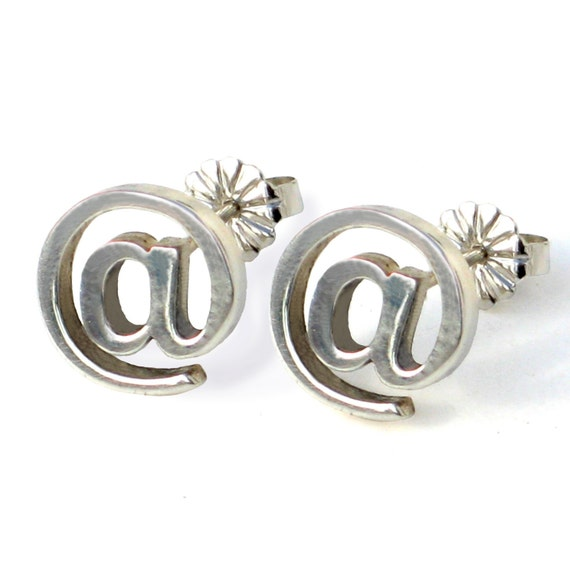 EMAIL - Internet Earrings  - At sign Sterling Silver  Contemporary
