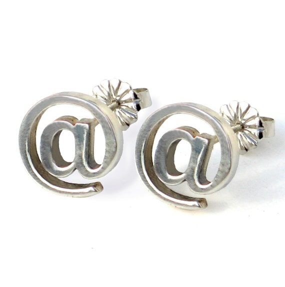 EMAIL Internet Earrings At sign Sterling Silver  Contemporary