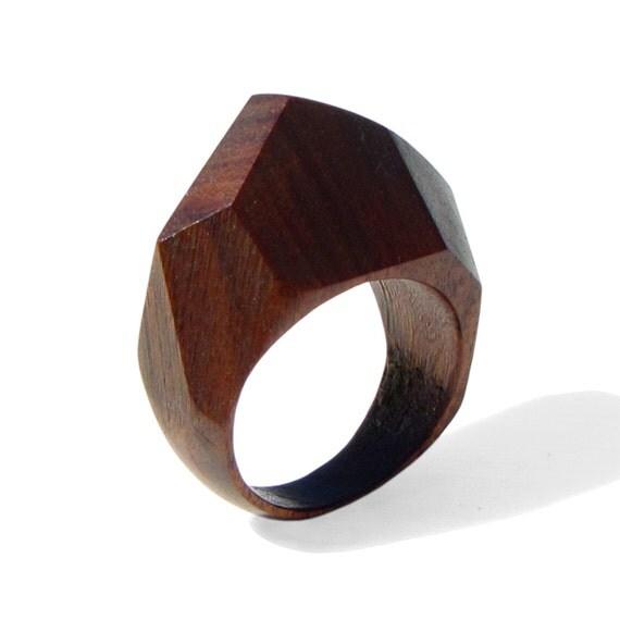 Gem Palissander Wood Ring Ooak