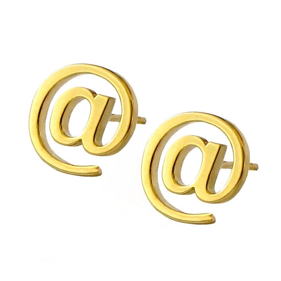 EMAIL At Sign18k Gold Vermeil Post Earrings, Gold plated studs