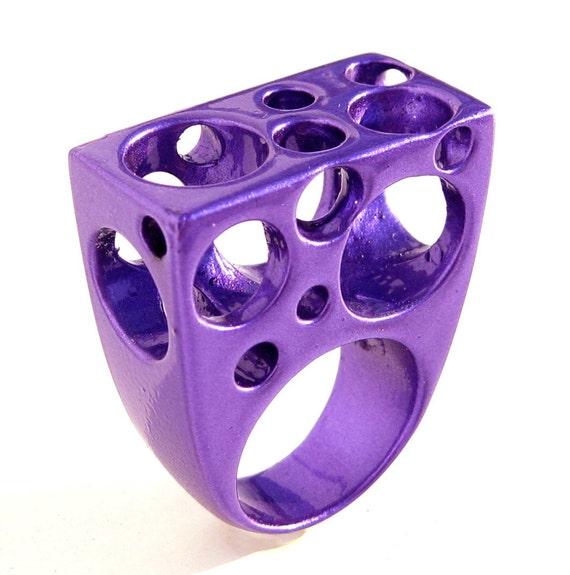 bubbles aluminum ring purple coated large ring avant by arosha