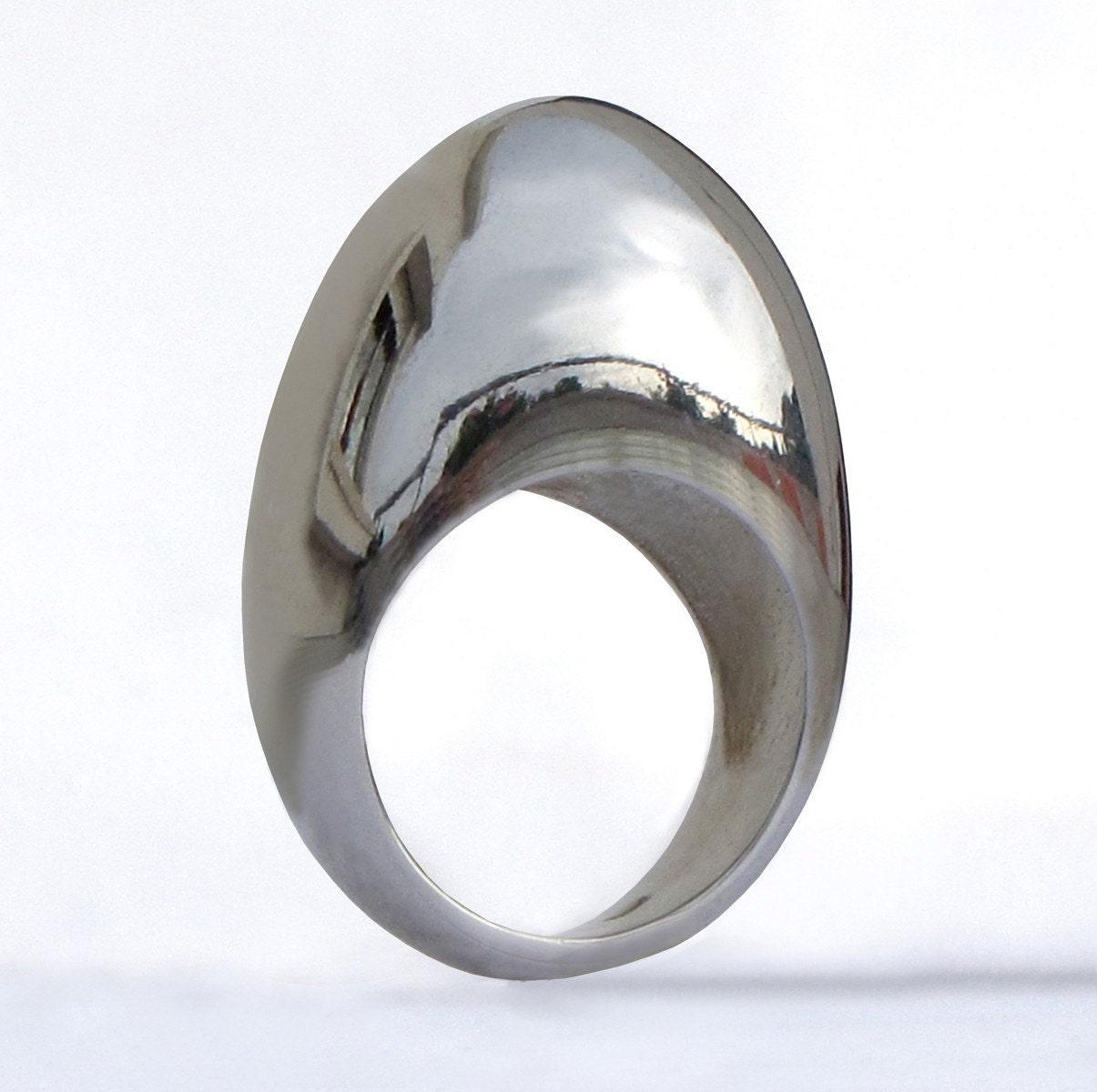 modern silver egg ring sterling silver custom size by arosha