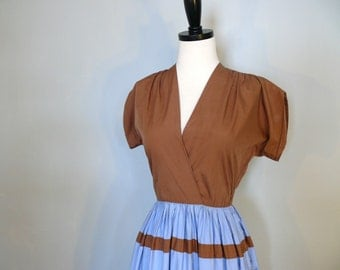 vintage 1940s dress // Brown and Blue Stripe