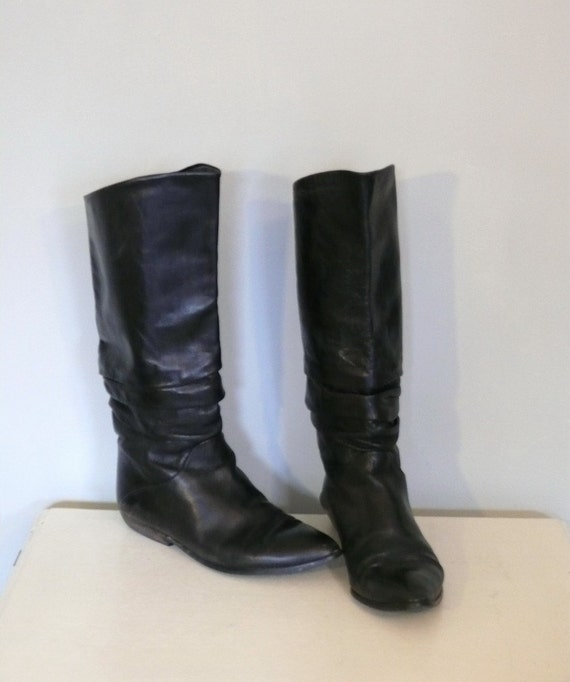 coal black leather slouch boots