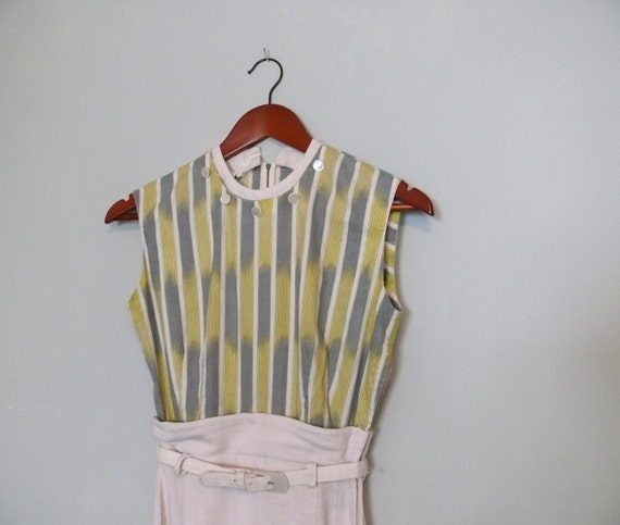 SALE 1960s vintage dress // Grey and Yellow stripe Linen Marlene