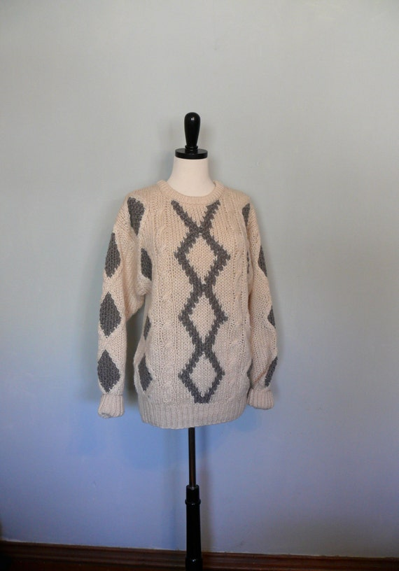 Vintage Sweater // Grey and Cream Argyle
