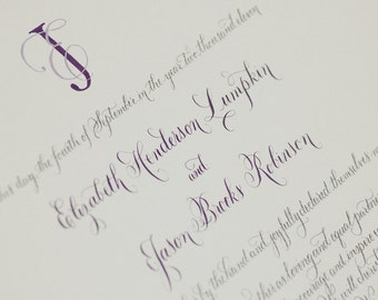 Quaker Marriage Certificate Ketubah featuring Hand Lettered Calligraphy DEPOSIT