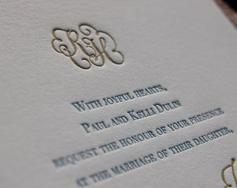 Letterpress Wedding Invitation featuring Hand Calligraphy Names and Monogram DEPOSIT