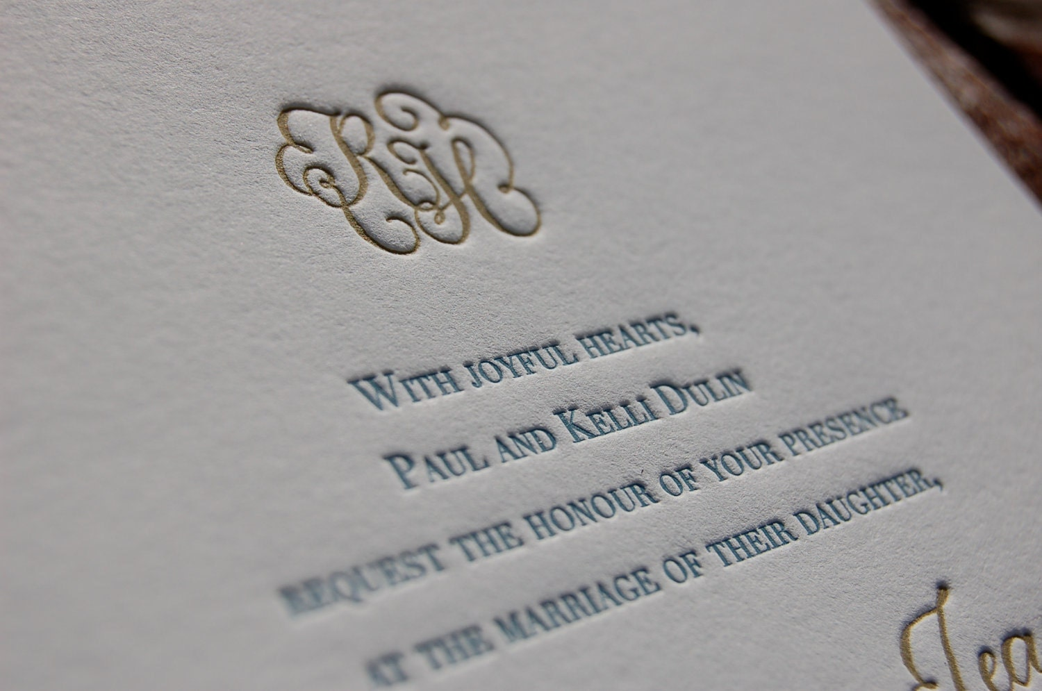 Letterpress Wedding Invitation Featuring Hand Calligraphy