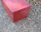 Vintage Trunk Blanket Chest  -Tool Chest  -  coffee table or bench  -old  Red crackled paint SALE PRICED