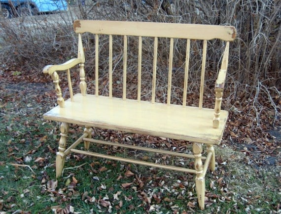 Vintage  Bench Wood Painted Distressed Finish