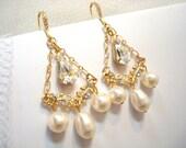 Gold chandelier earrings, bridal earrings with Swarovski crystals and Swarovski pearls, wedding earrings, bridesmaid