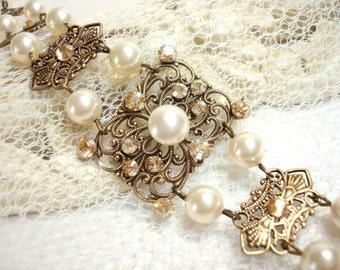 Champagne gold bracelet, Crystal Bridal bracelet, Wedding bracelet, Antique gold bracelet, Vintage style bracelet, Swarovski bracelet
