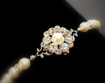 Pearl bracelet, wedding bracelet, bridal bracelet with Swarovski ivory pearls and Swarovski crystals, wedding jewelry