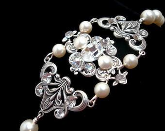 Crystal Bridal bracelet, Vintage Wedding bracelet, Swarovski crystal bracelet, Wedding jewelry, Antique silver, Pearl bracelet, ASHLYN