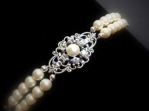 Bridal Bracelet Pearl Bracelet Vintage Style Bracelet Cuff