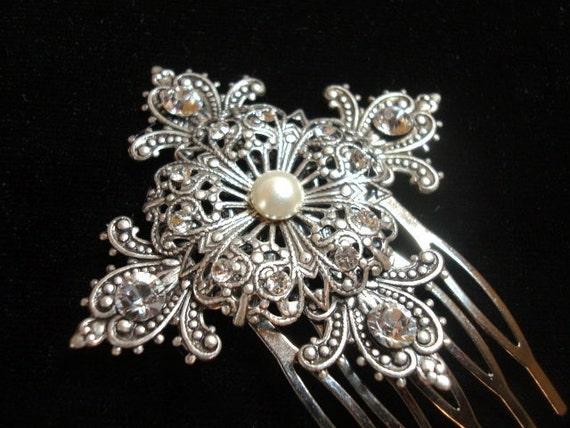 Vintage style hair comb, Bridal hair comb, Antique silver headpiece, Bridal hair clip, Hair pin, Swarovski crystal comb, Vintage headpiece