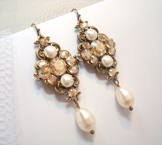 vintage bridal earrings wedding earrings with swarovski