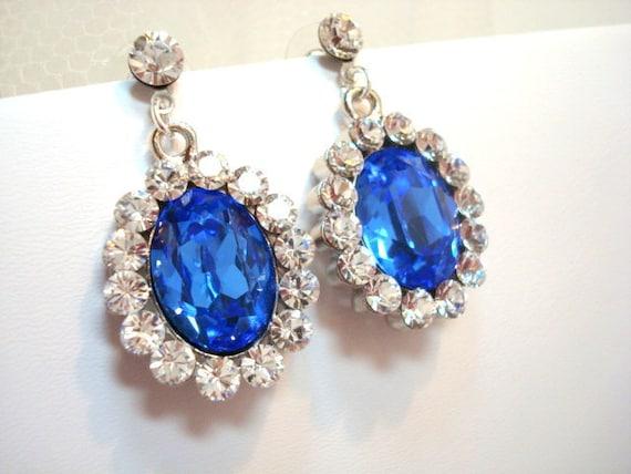 Bridal earrings, Swarovski crystal earrings, Sapphire blue crystals and antique silver, wedding jewelry, bridesmaid earrings