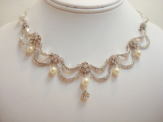 wedding ring necklace bridal jewelry set necklace and earrings set by treasures570 9968