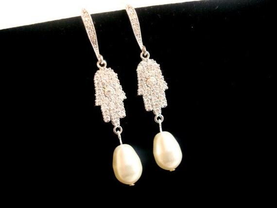 Bridal earrings, cubic zirconia earrings, wedding jewelry, bridesmaid jewelry with Swarovski pearls