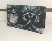 Hand Embroidered Cut Out Ruffle Checkbook Cover for Duplicate Checks by Sass Rocket Studios