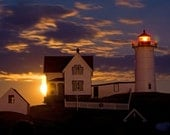 Fine Art Photography Maine Nubble Light Perigee Moon 5x7