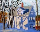 Maine Urban Winter Landscape Painting of Houses, Trees, Shadows