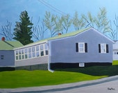 Maine Art House Painting Gray Shadows Sunlight Green Wall Art Home Decor