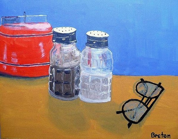 Acrylic still life painting candles glasses salt pepper for Can you paint candles with acrylic paint