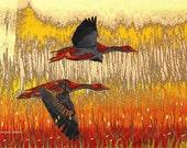 Flying Geese Art,  Southwestern Art, Fauvism Art,  Autumn Orange Yellow, Bird Goose, Woodland Home Decor, Wall Decor, Giclee Print  8 x 10