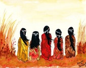 Native American Art Watercolor Painting Girls Southwestern Tribal Autumn Fall Orange Yellow Home Decor Wall Hanging Giclee Print 8 x 10
