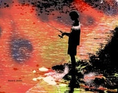 Fisherman Art, Boy Silhouette, Photomontage, Sunset Fishing, Peach Pink Black, Home Decor, Cabin Office, Wall Hanging, Giclee Print, 8 x 10