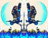 Heron Art, Blue Bird, Mirror Imaging, Southwestern Digital Print, Blue Moon, Woodland Animal, Home Decor, Wall Decor Giclee Print 8 x 10