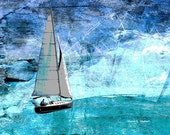 Abstract Sailboat Art, Blue Digital Photomontage, Wall Hanging, Nautical Home Decor, Lake Texoma, Regatta Boating,  8 x 10, Giclee Print