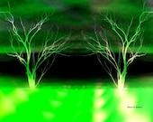 Lime Green Trees Art, Home Decor, Digital Neon Design, Surreal Wilderness Dream, Rural Landscape, Woodland Wall Hanging, Giclee Print 8 x 10