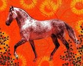 Southwestern Art Gray Dapple Horse Surreal Fantasy Equine Wall Decor Digital Print Orange Yellow Textured Equine Home Decor 8 x 10
